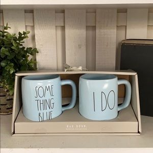 🌿 NEW Rae Dunn Something Blue I DO Mug Set 💍